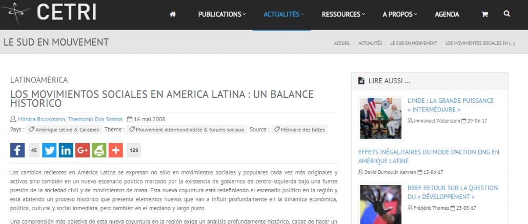 LOS MOVIMIENTOS SOCIALES EN AMÉRICA LATINA : UN BALANCE
