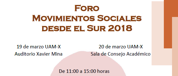 """FORO RED: """"Movimientos Sociales desde el Sur 2018"""""""